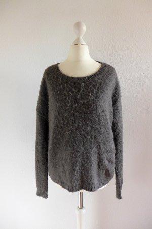 Oui Pulli Pullover Used Look Langarm Wolle grau lila flieder Gr. 36 S