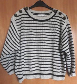 Oui Pullover, Ecru/schwarz gestreift, Baumwolle, Größe 40