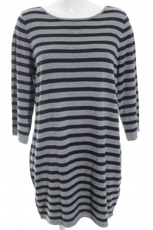 Oui Sweater Dress grey-dark blue horizontal stripes casual look