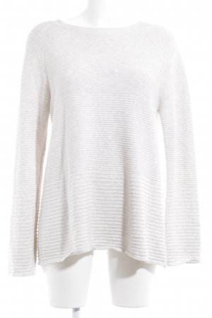 Oui Rundhalspullover creme meliert Casual-Look