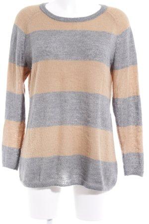 Oui Crewneck Sweater sand brown-light grey striped pattern fluffy