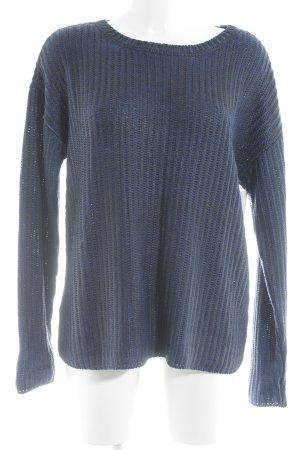 Oui Crewneck Sweater black-blue wet-look