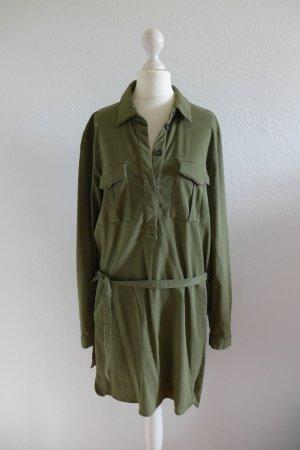 Oui Set Kleid Hemd Blusenkleid Safari Bindeband grün khaki Gr. 38