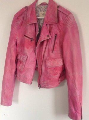Oui Set Lederjacke pink