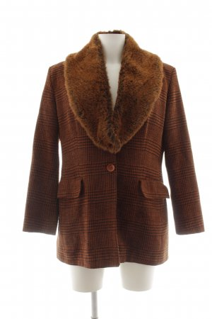Oui Set Knitted Blazer cognac-coloured-taupe abstract pattern extravagant style