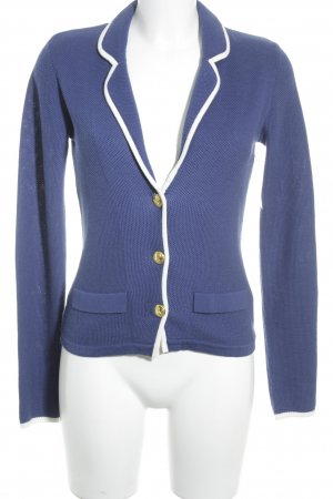 Oui Set Strickblazer weiß-dunkelblau Casual-Look