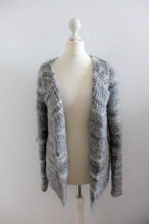 Oui Set Strickjacke Pulli Jacke grau weiß Wolle Mohair Gr. 34 36 top