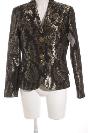 Oui Set Sweatblazer schwarz-goldfarben florales Muster extravaganter Stil