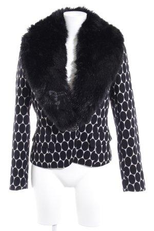 Oui Set Giacca di lana nero-bianco motivo a pallini stile casual