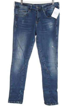Oui Skinny Jeans dunkelblau Used-Optik