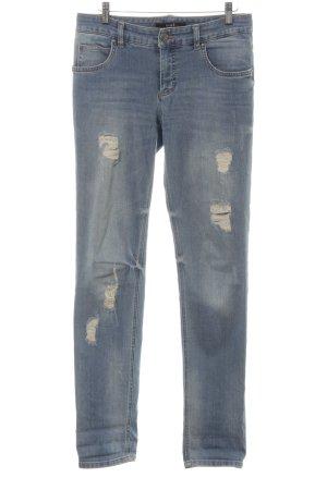 Oui Skinny Jeans kornblumenblau Destroy-Optik