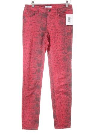 Oui Jeans slim fit rosso motivo animale stampa rettile