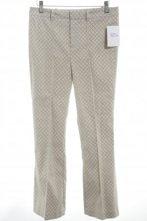 Oui Stoffhose beige-creme abstraktes Muster Business-Look