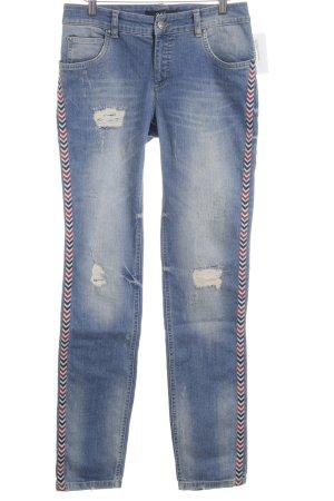 Oui Straight-Leg Jeans stahlblau Destroy-Optik