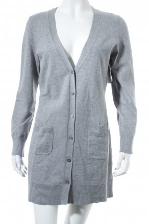 Oui Strick Cardigan hellgrau Casual-Look