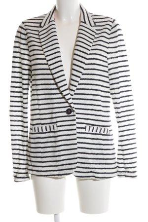 Oui Strickblazer weiß-schwarz Streifenmuster Casual-Look