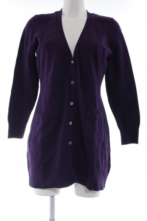 Oui Strickjacke dunkelviolett Casual-Look
