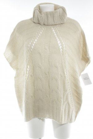 Oui Strickpullover creme Lochstrickmuster Casual-Look