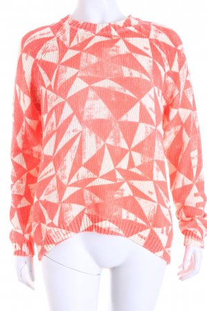 Oui Strickpullover creme-neonorange abstrakter Druck Street-Fashion-Look