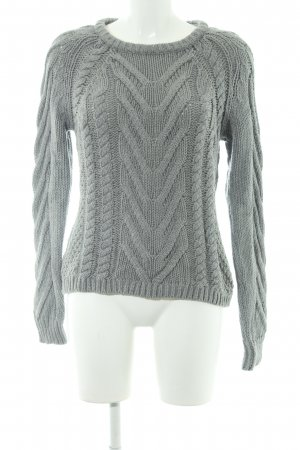 Oui Strickpullover grau Zopfmuster Casual-Look