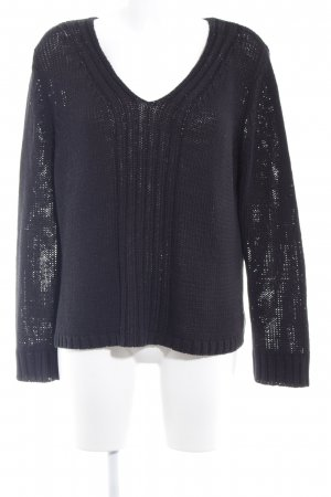 Oui Strickpullover schwarz Casual-Look