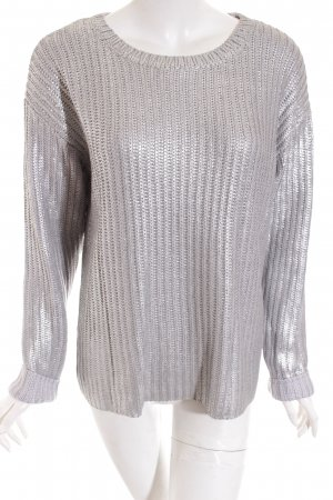 Oui Strickpullover silberfarben Metallic-Optik