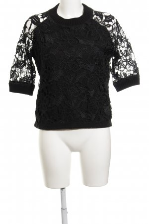 Oui Strickshirt schwarz Casual-Look