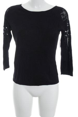 Oui Camisa tejida negro estampado con aplicaciones estilo clásico