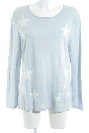 Oui Camisa tejida blanco-azul bebé Patrón de estrellas look casual