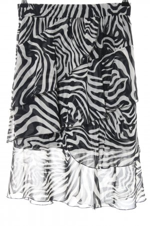 Oui Falda gitana gris claro-negro estampado de animales estampado animal