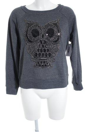 Oui Suéter gris oscuro estampado temático look Street-Style