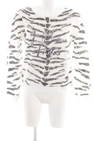 Oui Sweatshirt weiß-schwarz Animalmuster Casual-Look