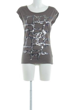 Oui T-Shirt hellbraun Casual-Look