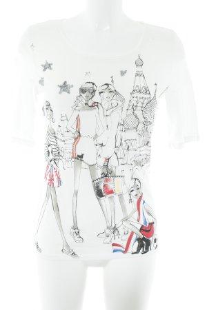 Oui T-Shirt mehrfarbig Paris-Look