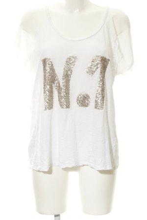 Oui T-Shirt weiß-roségoldfarben sportlicher Stil
