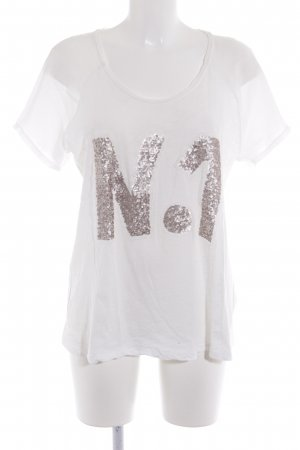 Oui Camiseta blanco-color plata look casual