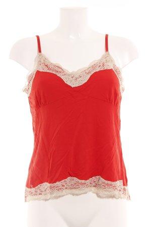 Oui Canotta a bretelle rosso-beige chiaro stile da moda di strada