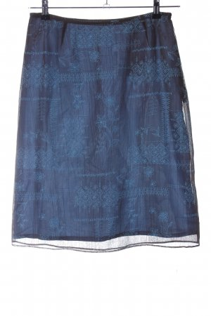 Oui Tüllrock blau grafisches Muster Casual-Look