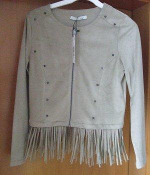 OUI Übergangsjacke Jacke mit Fransen - Wildlederoptik - Gr. 40 - Neu