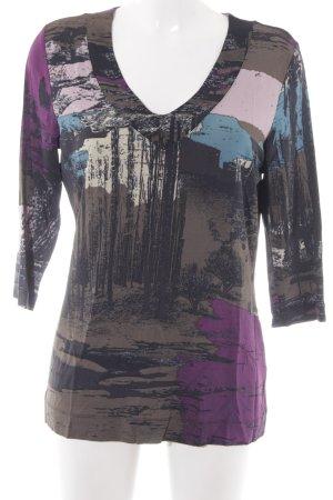Oui V-Ausschnitt-Shirt Allover-Druck Casual-Look