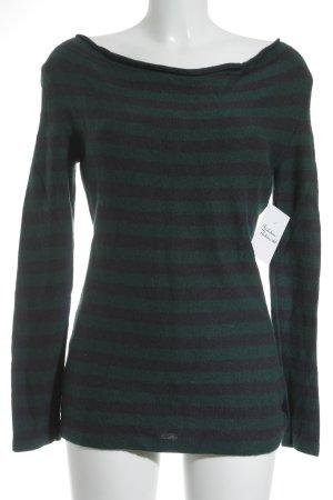 Oui Maglione di lana grigio scuro-blu cadetto motivo a righe stile casual