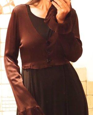 Blouse brillante brun foncé soie