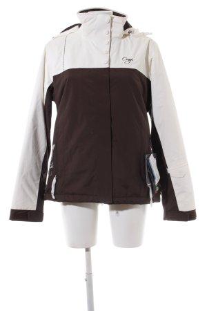 Chaqueta para exteriores marrón-blanco puro look casual