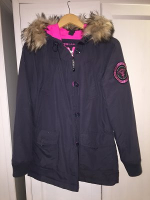 Superdry Down Jacket anthracite-neon pink nylon