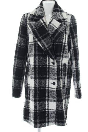 outerwear Fleecemantel schwarz-weiß Karomuster Casual-Look