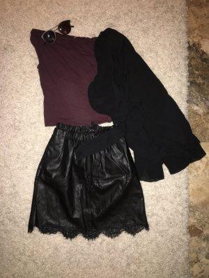 Zara Jupe en cuir synthétique noir-bordeau