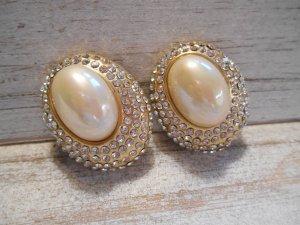 ovale Ohrclips goldfarben mit (Kunst) Perle und Strass