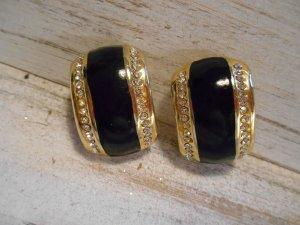 ovale Ohrclips goldfarben mit schwarzem Emaille und Strass