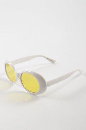 ovale Sonnenbrille weiß-gelb Beach-Look