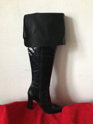Over knee Leder schwarz